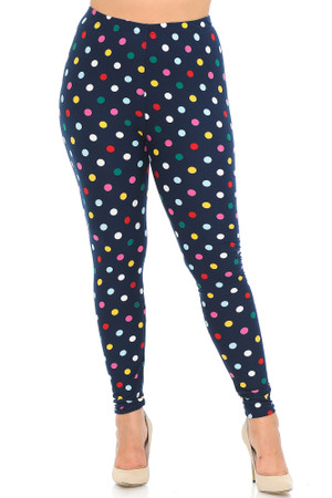 Wholesale Buttery Soft Mini Polka Dot Plus Size Leggings