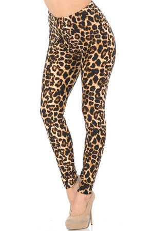 Wholesale Buttery Soft Bold and Beautiful Leopard Extra Plus Size Leggings - 3X-5X