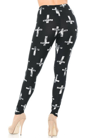 Wholesale Buttery Soft Faded Cross Plus Size Leggings