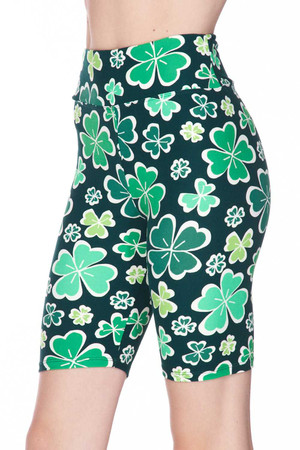 Wholesale Buttery Soft Green Irish Clover Plus Size Shorts - 3 Inch