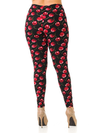 Wholesale Buttery Soft Summer Wild Cherry Plus Size Leggings