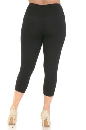 Wholesale Buttery Soft Basic Solid High Waisted Extra Plus Size Capri - 5 Inch - 3X-5X - New Mix