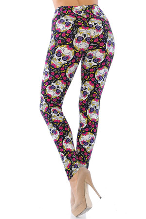 Wholesale Buttery Soft Floral Petal Sugar Skull Leggings