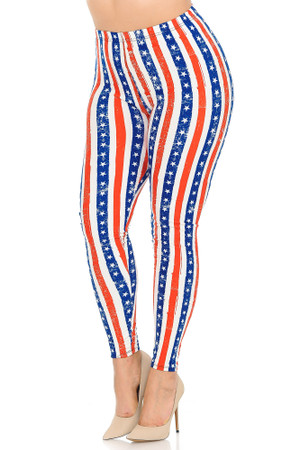 Wholesale Buttery Soft Plus Size Vertical Stars and Stripes Leggings