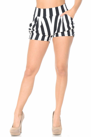 Wholesale Buttery Soft Wide Stripe Plus Size Harem Shorts