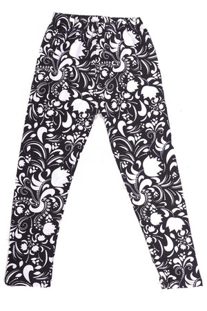 Wholesale Buttery Soft Monochrome Spring Floral Kids Leggings