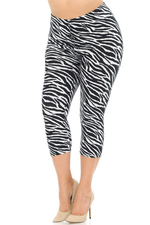 Wholesale Buttery Soft Zebra Print Plus Size Capris - 3 Inch