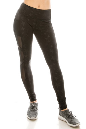 Wholesale Premium Sport Vintage Star Mesh Accent Workout Leggings with Side Pocket