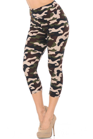 Wholesale Buttery Soft Flirty Camouflage High Waist Capris - 3  Inch