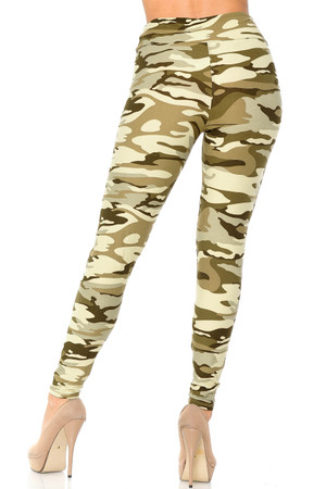 Wholesale Buttery Soft Light Olive Camouflage High Waisted Plus Size Leggings
