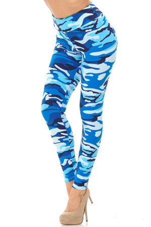 Wholesale Buttery Soft Blue Camouflage High Waisted Leggings - EEVEE