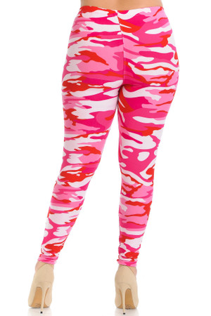 Wholesale Buttery Soft Pink Camouflage Plus Size Leggings - EEVEE