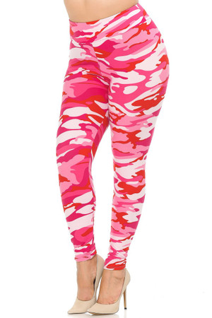 Wholesale Buttery Soft Pink Camouflage High Waisted Plus Size Leggings - EEVEE