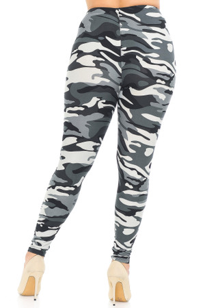 Wholesale Buttery Soft Charcoal Camouflage Extra Plus Size Leggings - 3X-5X