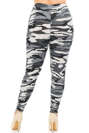 Wholesale Buttery Soft Charcoal Camouflage High Waisted Plus Size Leggings - EEVEE