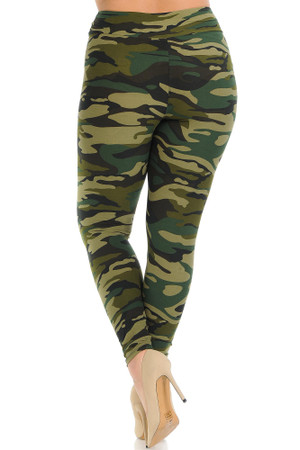 Wholesale Buttery Soft Green Camouflage High Waisted Plus Size Leggings - EEVEE