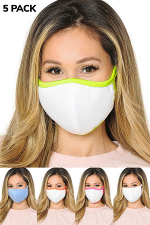 5 Pack - 2 Ply Cotton Inner Silky Scuba Outer Face Masks - Made in the USA - Reusable - Female Sizing