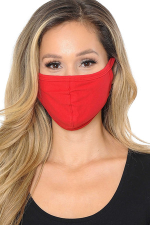 Red Wholesale Unisex Cotton Face Mask with PM2.5 Filter Pocket - Made in USA