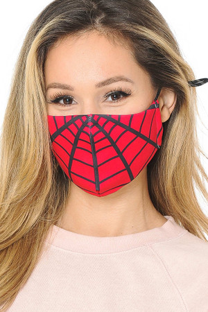 Wholesale Spiderman Web Graphic Print Face Mask