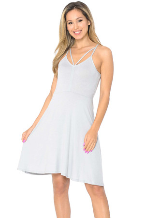 Wholesale Premium Sleeveless V-Strap Rayon Skater Dress