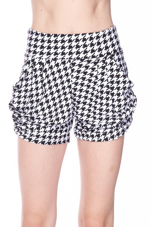 Wholesale Buttery Soft Houndstooth Harem Shorts