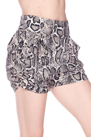 Wholesale Buttery Soft Beige Boa Snakeskin Plus Size Harem Shorts