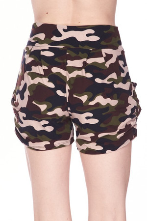 Wholesale Buttery Soft Flirty Camouflage Plus Size Harem Shorts