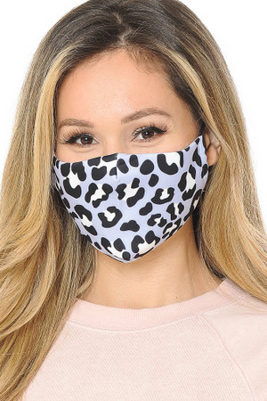 Soft Blue Leopard Graphic Print Face Mask