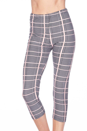Wholesale Buttery Soft Baby Pink Glen Plaid Capris
