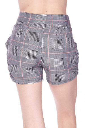 Wholesale Buttery Soft Coral Accent Textured Houndstooth Harem Shorts