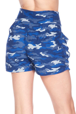 Wholesale Buttery Soft Blue Grid Camouflage Harem Shorts