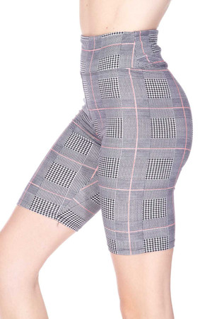 Wholesale Buttery Soft Coral Accent Glenn Plaid Biker Shorts - 3 Inch Waist Band