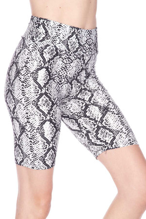 Wholesale Buttery Soft White Snakeskin High Waist Plus Size Biker Shorts - 3 Inch Waist