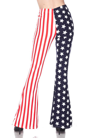 Wholesale Buttery Soft USA Flag Bell Bottom Leggings
