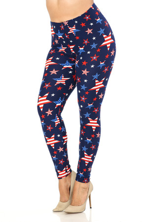 Wholesale Buttery Soft USA Stars Plus Size Leggings
