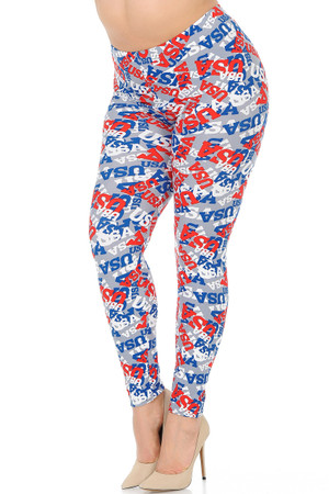 Wholesale Buttery Soft All Over USA Extra Plus Size Leggings - 3X-5X