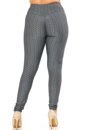 Wholesale Scrunch Butt Textured High Waisted Plus Size Leggings