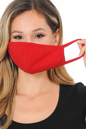 Wholesale Summer Red Scuba Knit Face Mask - Made in the USA