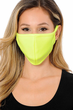 Wholesale Summer Neon Yellow Scuba Knit Face Mask - Made in the USA