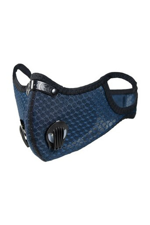 Wholesale Navy Blue Dual Valve Mesh Sport Face Mask with PM2.5 Filter