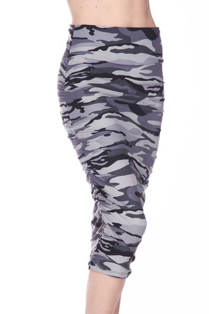 Wholesale Buttery Soft Charcoal Camouflage Pencil Skirt
