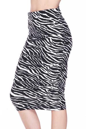 Wholesale Buttery Soft Zebra Stripes Pencil Skirt