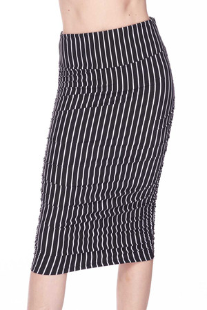 Wholesale Buttery Soft Black Pinstripe Pencil Skirt