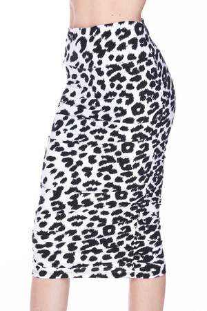 Wholesale Buttery Soft Ivory Spotted Leopard Pencil Skirt