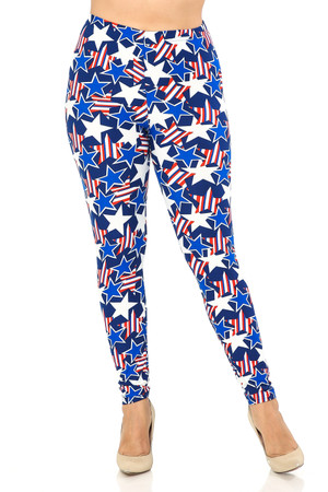 Wholesale Buttery Soft American Stars Extra Plus Size Leggings - 3X-5X