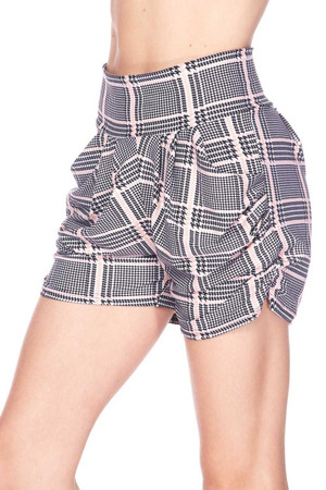 Wholesale Buttery Soft Baby Pink Glen Plaid Harem Plus Size Shorts