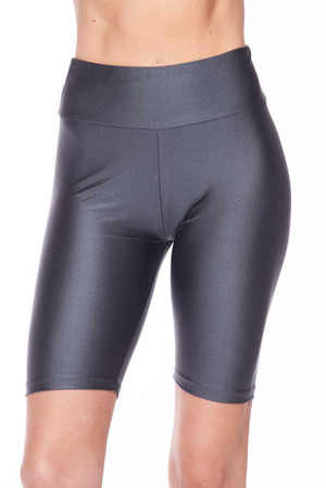 Wholesale Shiny Scrunch Butt Lifting High Waisted Biker Short