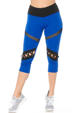 Wholesale Dual Mesh Patch Women's Workout Capris