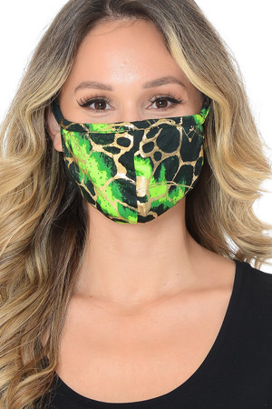 Green Wholesale Neon Colorcade Metallic Gold Fashion Face Mask - Made in USA