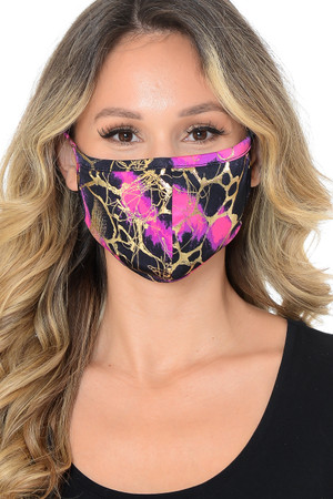 Fuchsia Wholesale Neon Colorcade Metallic Gold Fashion Face Mask - Made in USA